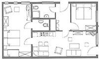 Der Grundriss der Ferienwohnung Typ 2 mit 70 m² Wohnfläche, für 2 bis 4 Personen (Auf Anfrage ist eine Aufbettung möglich). - Bild 4: Ostseeurlaub mit Hund - Wassergrundstück Piratennest Darß