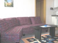 Die Couch und hinten die kleine Küchenzeile. - Bild 4: Appartement Nr. 8 in der Zigeunermühle in Weißenstadt/Fichtelgebirge