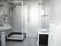 Bad mit Dusche... - Bild 10: Ferienwohnung Søstjern für 2 - 3 Personen & Hund, Schwimmbad und Sauna