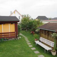 """Der Blick vom Haus """"Windrose"""" in den Garten. - Bild 10: Reif für die Insel Usedom?... dann in´s neue Blockhaus """"Kajüte""""!"""